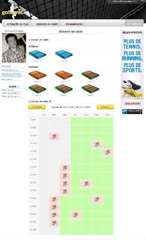 Réservation des courts de tennis sur Internet